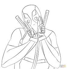 lovely deadpool coloring page free printable coloring pages