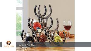 western horseshoe wine bottle holder table top rack decor review