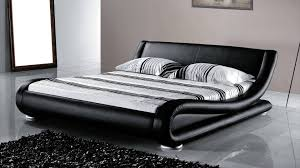 beliani leather bed double bed incl stable slatted frame bed