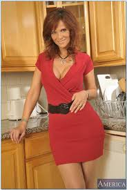 Red Milf Kitchen - busty mature lady in stockings syren de mer stripping in the