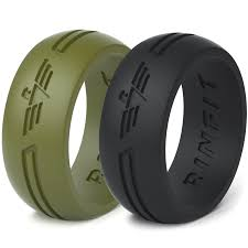 rubber wedding ring silicone rings wedding band for men 2 rings pack rinfit
