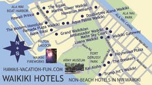 map of waikiki map of non beachfront waikiki hotels in the northwestern portion