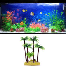 Perfect 1pcs Simulation Resin Coconut Tree Ornament Fish Tank