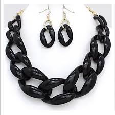 colored chain link necklace images Jewelry plastic curb chain link necklace earrings black poshmark jpg