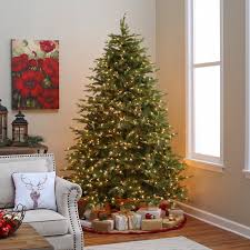 national tree company 7 5 ft prelit feel real nordic spruce hinged