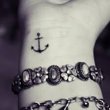attractive small anchor on wrist