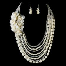 bridal necklace set pearl images Ivory pearl austrian crystal wedding jewelry elegant bridal jpg
