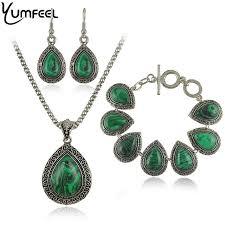 stone necklace sets images Buy fashion green malachite stone jewelry sets jpg