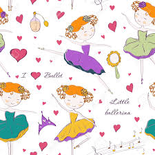 ballerina wrapping paper seamless pattern with ballerina and accessories design for
