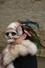 made to order foam skull mask with feathers peacock creepy