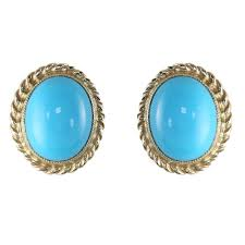 turquoise stud earrings 9ct yellow gold 9x7mm oval turquoise stud earrings jewellery