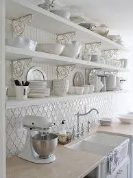 moroccan tiles kitchen backsplash white kitchen with moroccan tile backsplash beneath the openshelves