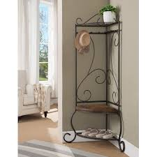 pewter metal corner entryway hallway storage bench hall tree coat