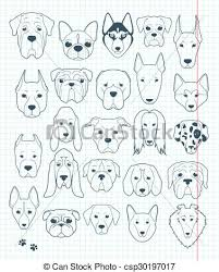 vector clip art of set of sketches 24 dogs different breeds