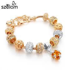 bracelet luxury crystal images Szelam luxury crystal heart charm bracelets bangles gold jpg
