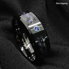 mens black wedding bands black and blue carbon fiber tungsten ring blue diamond mens