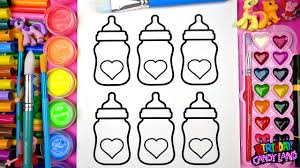 coloring cute heart baby bottles coloring pages for kids youtube