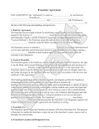 top 5 samples of franchise agreement templates word templates