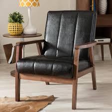 Black Leather Accent Chair Nikko Scandinavian Black Faux Leather Upholstered Accent Chair