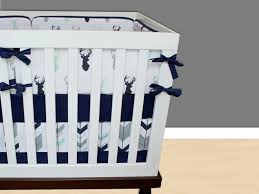 Gray Baby Crib Bedding Boy Nursery Bedding Set Deer Crib Bedding Mint And Navy
