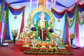engaging religious home decoration with gold ganesh chaturthi