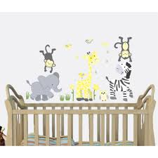 yellow gray safari murals with giraffe wall art for kids yellow gray jungle wall murals with giraffe wall art for play rooms