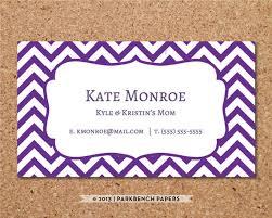 business card template purple chevron diy editable word