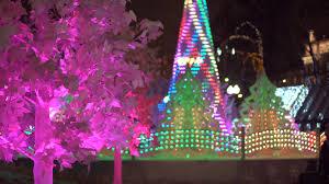 new year city decoration read balls on snow christmas tree
