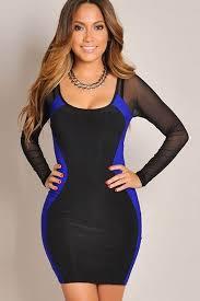 blue two tone mesh long sleeve party dress club