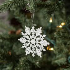 4 glitter snowflake ornament white box of 24 m101401