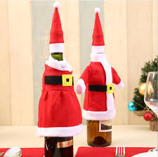 christmas day dinner table games christmas wine bottle bag set red santa claus clothes dress hat