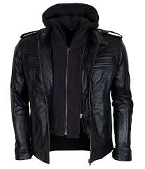 hooded motorcycle jacket tna aj style black genuine leather mens wrestler leather jacket at