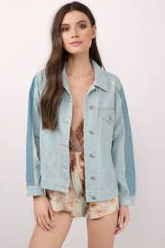 Light Jean Jacket Trendy Light Wash Outerwear Button Up Outerwear Light Wash