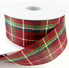 plaid ribbon christmas ribbon plaid checked striped
