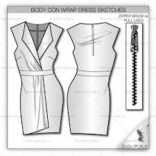 bodycon wrap dress sketch template u2013 illustrator stuff