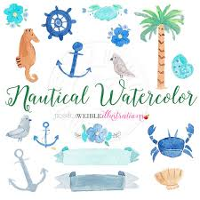 Hand Painted Love Anchors The - nautical watercolor clipart digital watercolor nautical clip art
