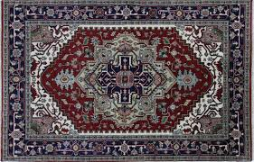 Red And Blue Persian Rug by Hand Knotted Oriental 6x9 Heriz Serapi Floral Red Navy Blue Wool