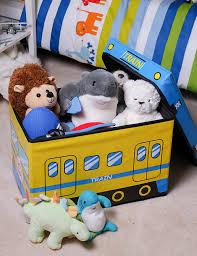 premium kid ottoman storage bin folding chest yellow blue train