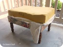Reupholster Leather Ottoman Diy Tufted Ottoman Fabric Recover Tutorial Six Stuff