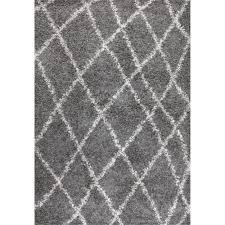 nuloom alexa ivory grey moroccan trellis shag rug 8 u0027 x 10 u0027