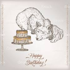 Sketch Birthday Card Romantic Vintage Birthday Card Template With Calligraphy Fox And