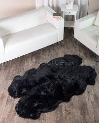 Black Rugs 4 Pelt Charcoal Black Sheepskin Fur Rug Quatro Fursource Com