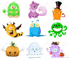 an illustration of cute funny and scary monsters for halloween