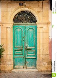 old wooden door in ancient greek house crete royalty free stock