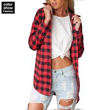 Black And White Plaid Shirt Womens Shirt Women Long Sleeved Flannel Shirt Women Black And Red