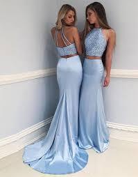 blue dress light blue two pieces prom dress formal dress