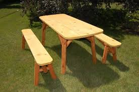 Wooden Picnic Tables With Separate Benches 6 U0027 Picnic Table W Detached Benches M 600sr