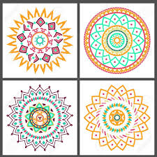 collection of bright colorful geometric round ethnic decorative