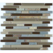 random bricks brown glass and slate tile glossy unpolished gs16