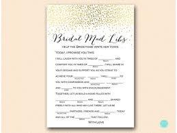 bridal mad libs gold bridal shower wedding vow mad libs bridal shower